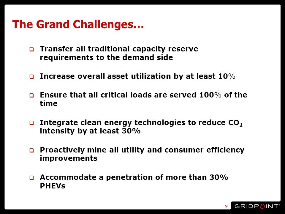 The Grand Challenges… Transfer all traditional capacity reserve requirements to the demand side Increase overall asset utilization by at least 10% Ensure that all critical loads are served 100% of the time Integrate clean energy technologies to reduce CO 2 intensity by at least 30% Proactively mine all utility and consumer efficiency improvements Accommodate a penetration of more than 30% PHEVs 9