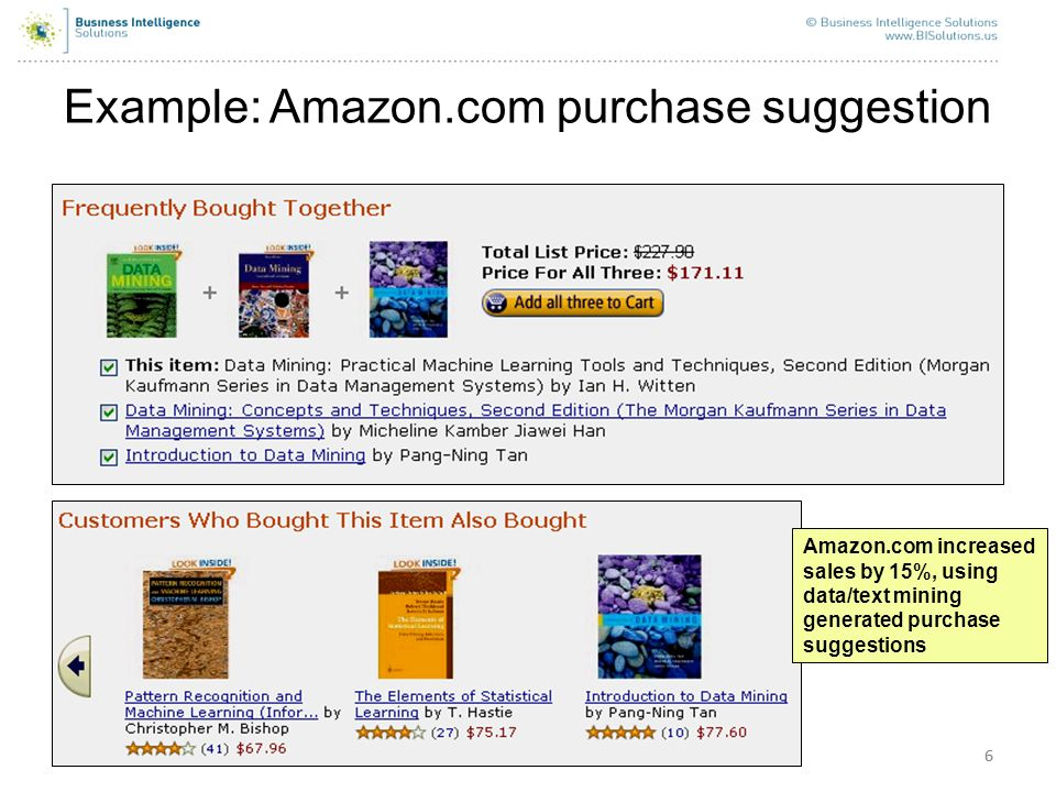 66 Example: Amazon.com purchase suggestion Amazon.com increased sales by 15%, using data/text mining generated purchase suggestions