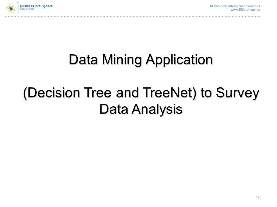 10 Data Mining Application (Decision Tree and TreeNet) to Survey Data Analysis