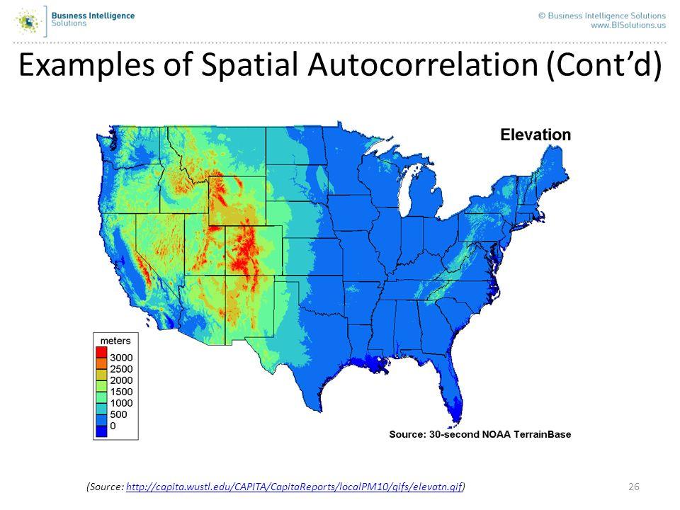 26 Examples of Spatial Autocorrelation (Contd) (Source: http://capita.wustl.edu/CAPITA/CapitaReports/localPM10/gifs/elevatn.gif)http://capita.wustl.ed