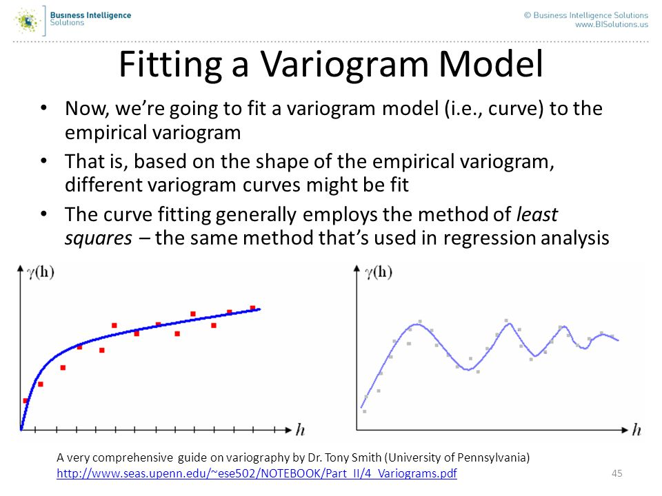 45 Fitting a Variogram Model Now, were going to fit a variogram model (i.e., curve) to the empirical variogram That is, based on the shape of the empi