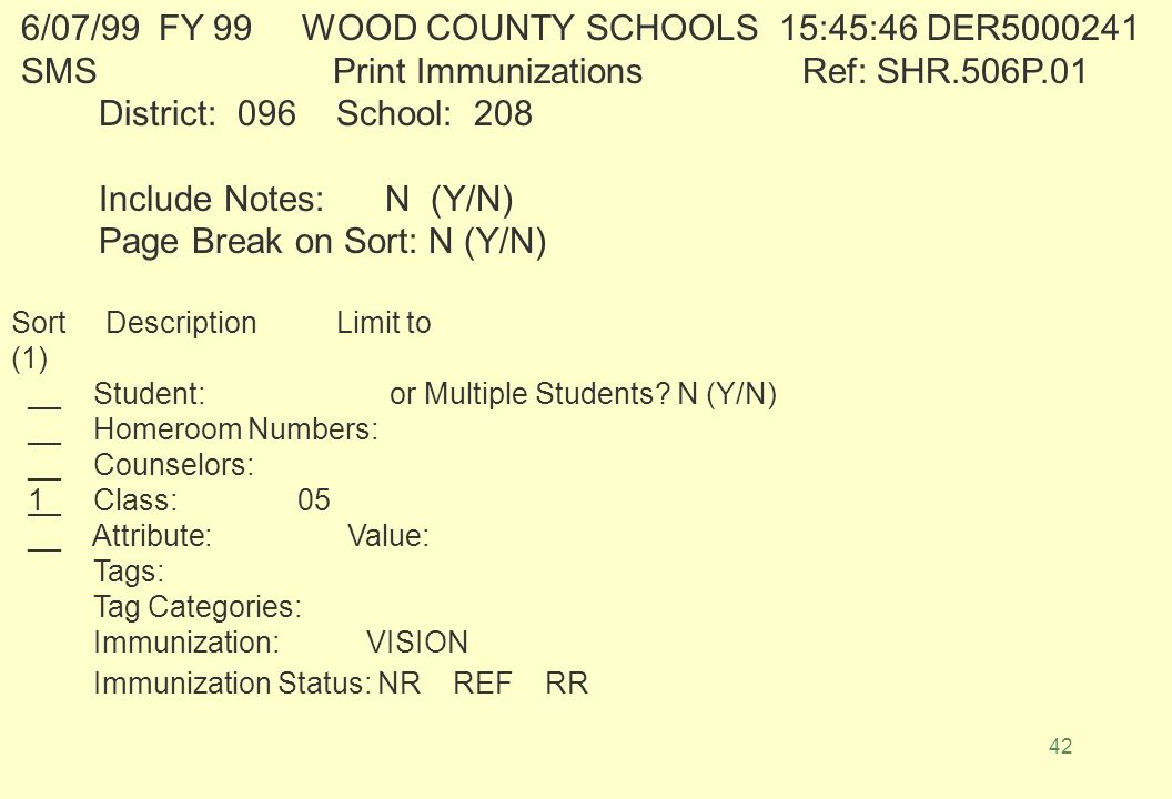 41 Ref: SHR.506 WOOD COUNTY SCHOOLS Date: 6/03/99 208 GIHON ELEMENTARYNotes: N Page Break on Sort: N Time: 13:39:28 Immunizations Sort By: Student Limit to: Stu # = 21637 ------------------------------------------------------------------------------------------------------------------------------------- -- -- -- -- -- -- -- -- --- -- -- Student # Student Name Cl B day Age Guardian Family Phone # Counselor HR No.