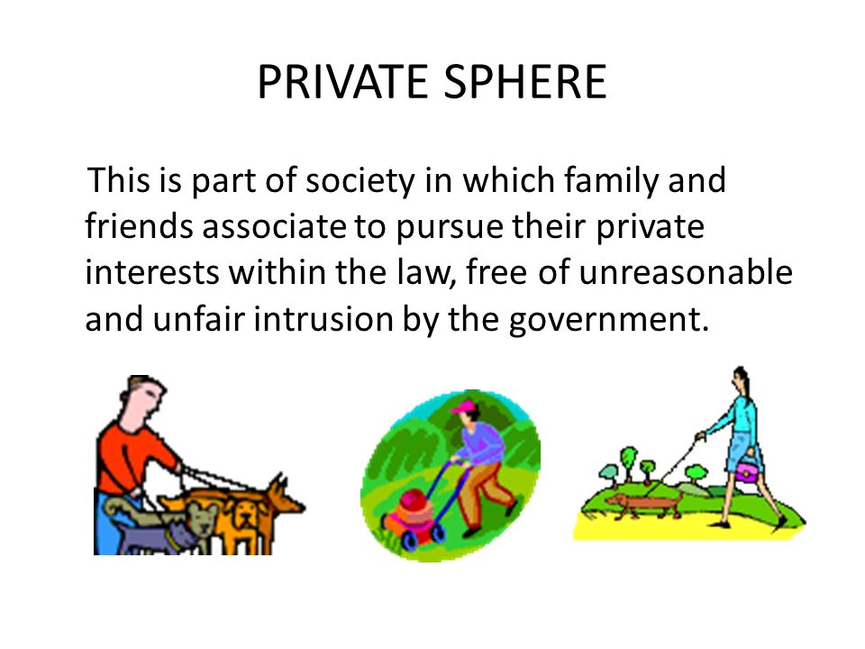 PRIVATE SPHERE This is part of society in which family and friends associate to pursue their private interests within the law, free of unreasonable and unfair intrusion by the government.