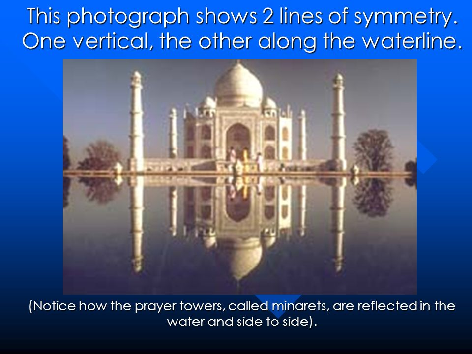 This photograph shows 2 lines of symmetry. One vertical, the other along the waterline. (Notice how the prayer towers, called minarets, are reflected