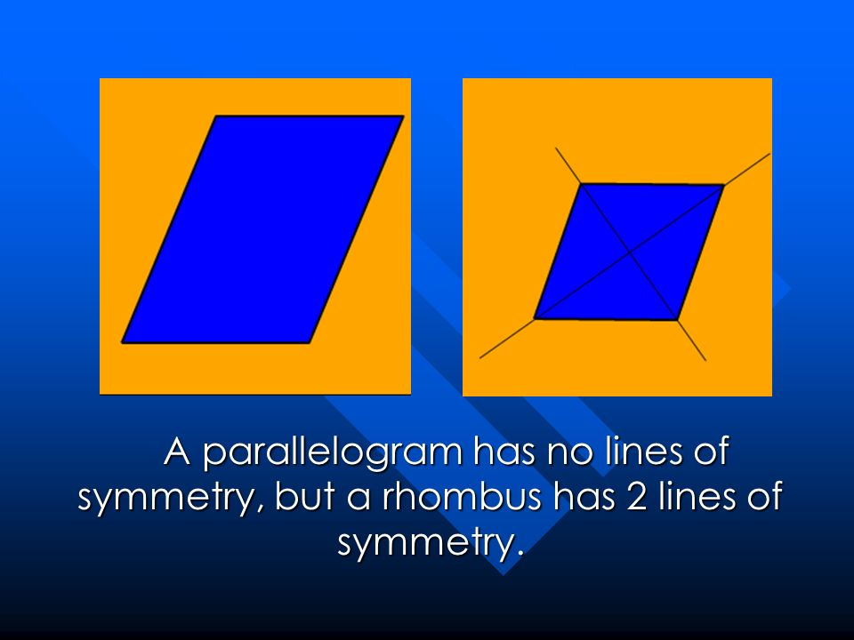 A parallelogram has no lines of symmetry, but a rhombus has 2 lines of symmetry.