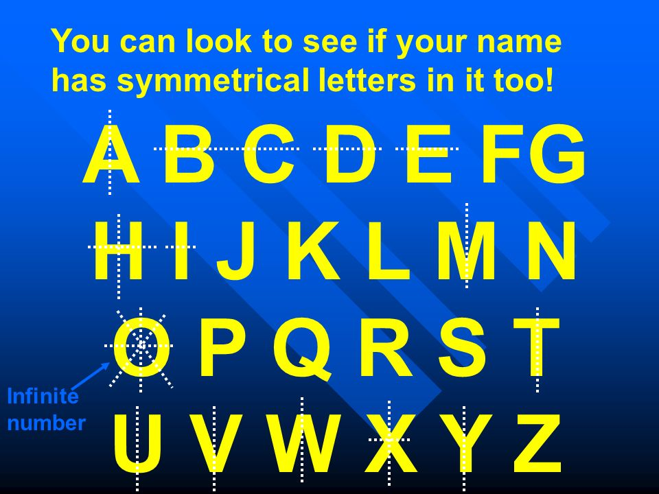 You can look to see if your name has symmetrical letters in it too! A B C D E FG H I J K L M N O P Q R S T U V W X Y Z Infinite number