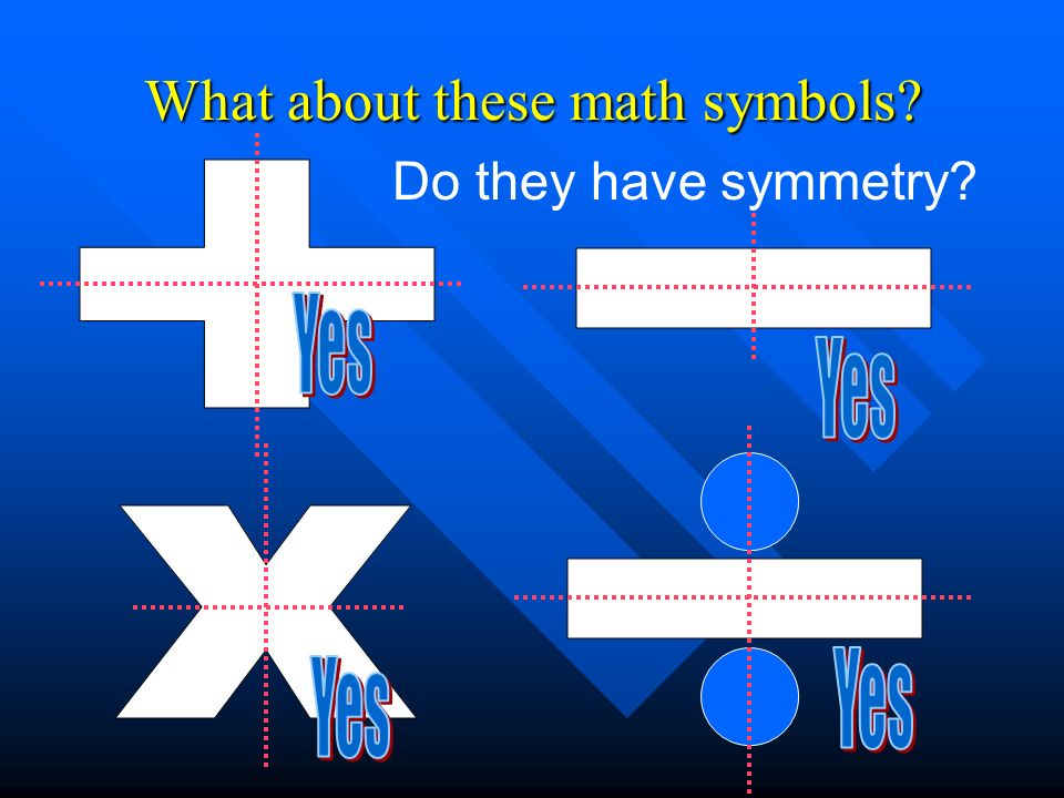 What about these math symbols? Do they have symmetry?
