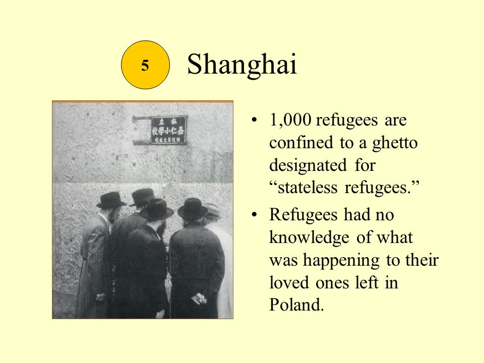 Shanghai 1,000 refugees are confined to a ghetto designated for stateless refugees.