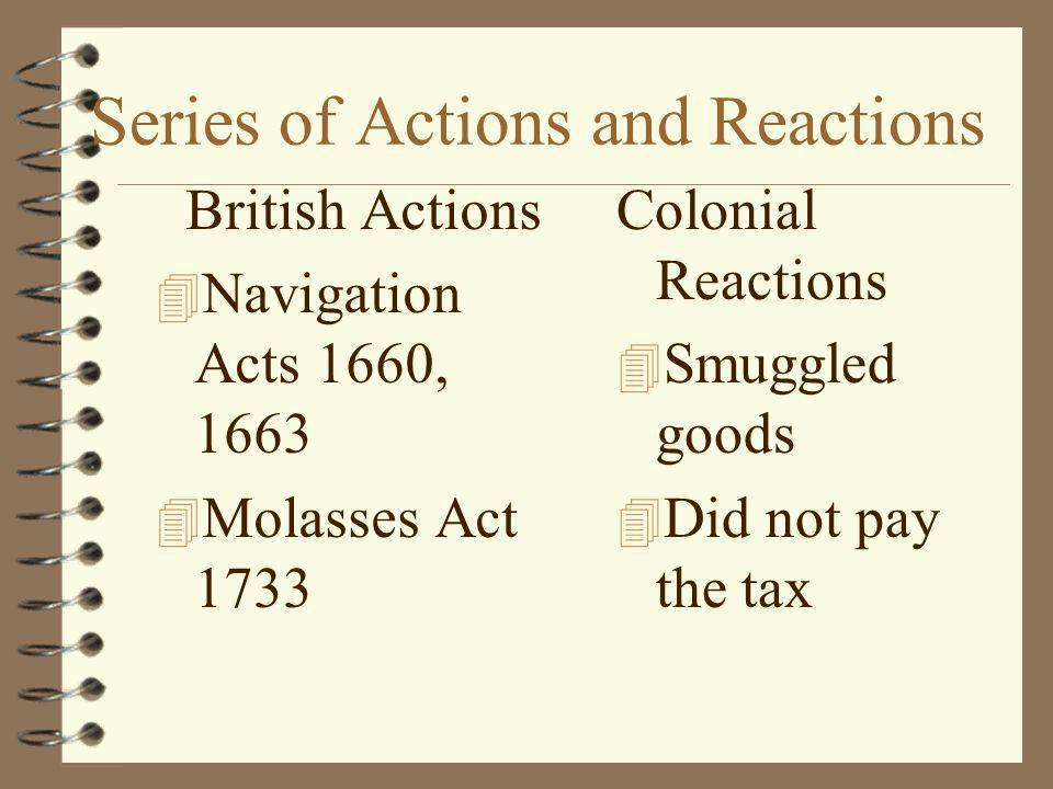 Series of Actions and Reactions British Actions 4 Navigation Acts 1660, 1663 4 Molasses Act 1733 Colonial Reactions 4 Smuggled goods 4 Did not pay the tax