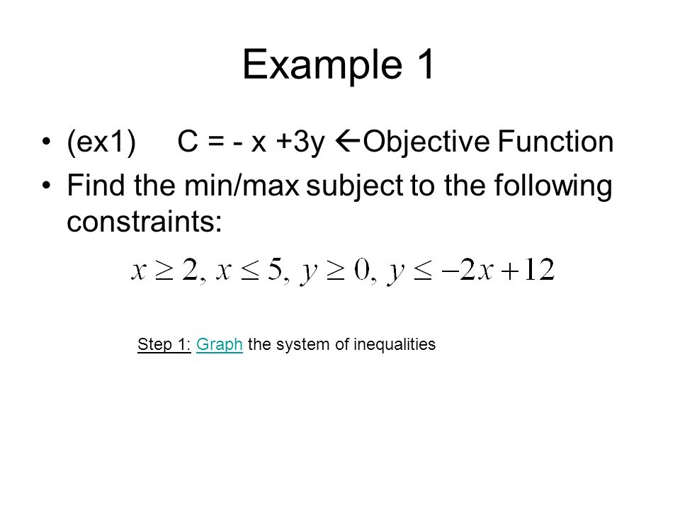 Example 1 (ex1)C = - x +3y Objective Function Find the min/max subject to the following constraints: Step 1: Graph the system of inequalitiesGraph