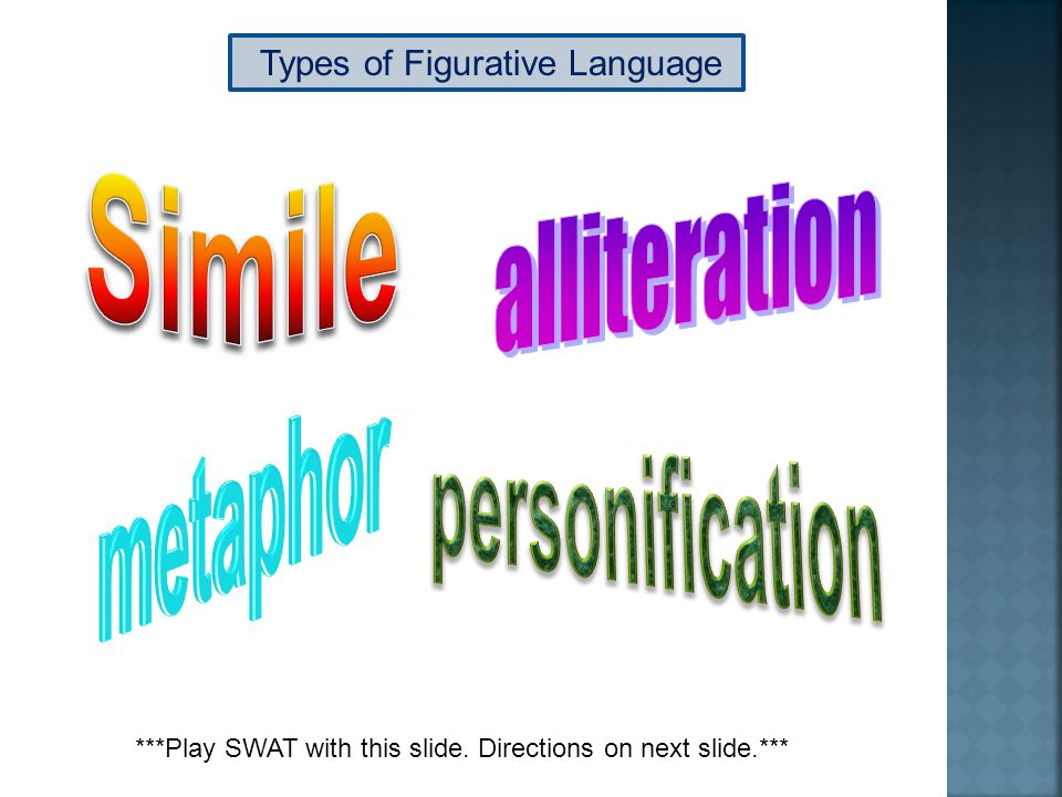 Types of Figurative Language ***Play SWAT with this slide. Directions on next slide.***