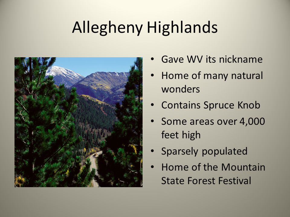 Allegheny Highlands Gave WV its nickname Home of many natural wonders Contains Spruce Knob Some areas over 4,000 feet high Sparsely populated Home of