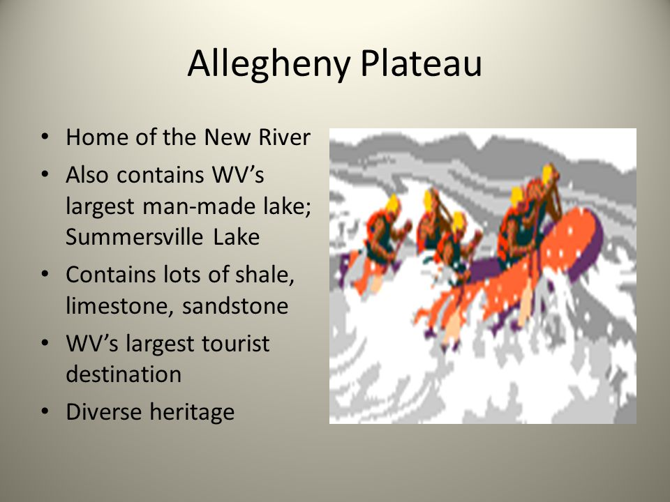 Allegheny Plateau Home of the New River Also contains WVs largest man-made lake; Summersville Lake Contains lots of shale, limestone, sandstone WVs la