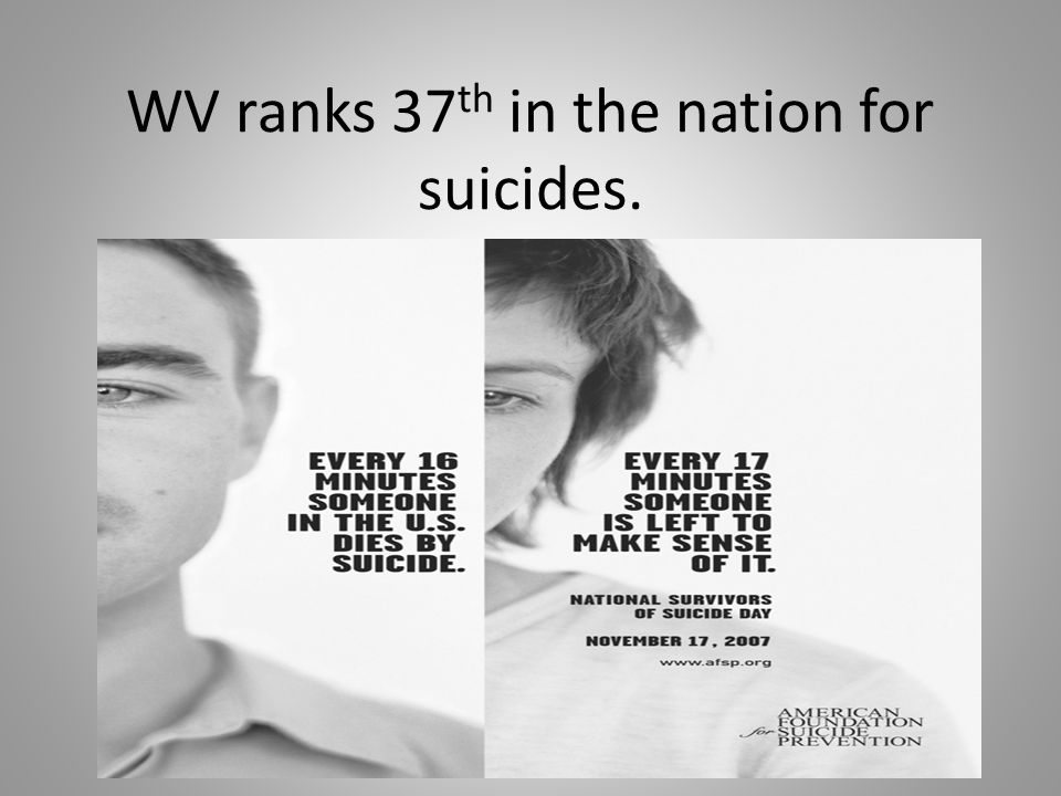 WV ranks 37 th in the nation for suicides.