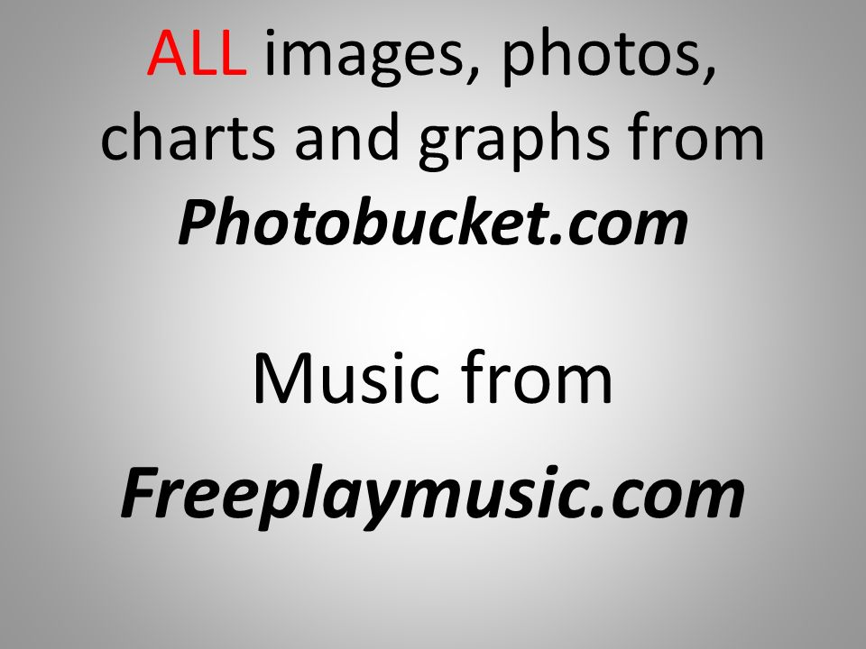 ALL images, photos, charts and graphs from Photobucket.com Music from Freeplaymusic.com