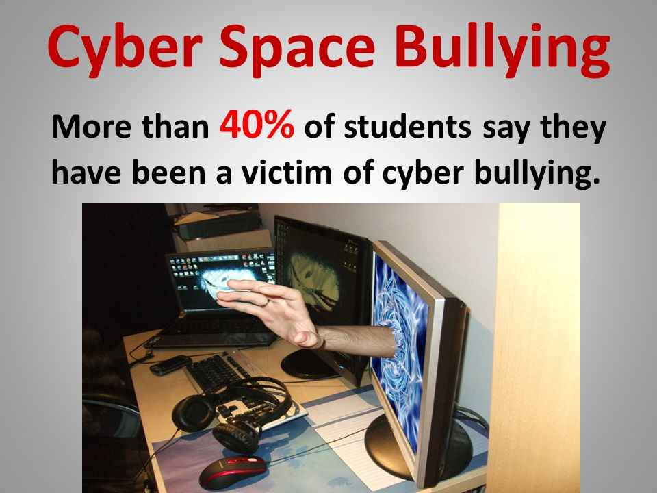 Cyber Space Bullying More than 40% of students say they have been a victim of cyber bullying.