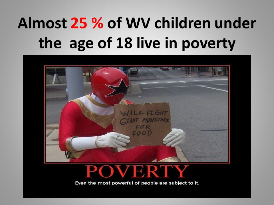 Almost 25 % of WV children under the age of 18 live in poverty