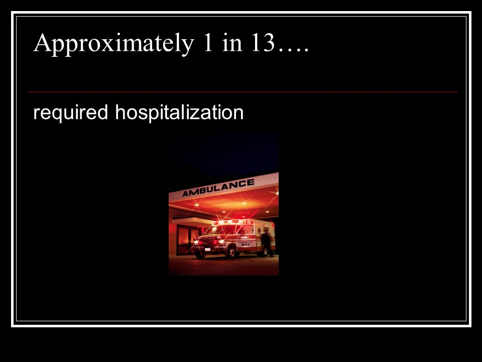 Approximately 1 in 13…. required hospitalization