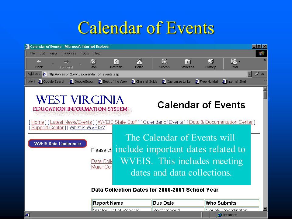 Calendar of Events The Calendar of Events will include important dates related to WVEIS.