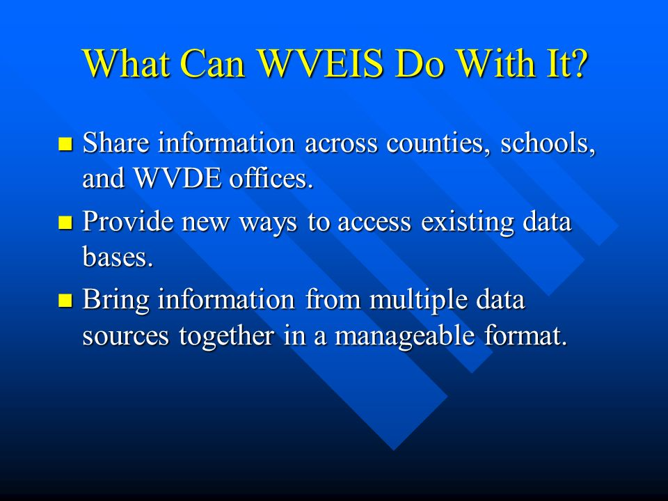 What Can WVEIS Do With It. Share information across counties, schools, and WVDE offices.