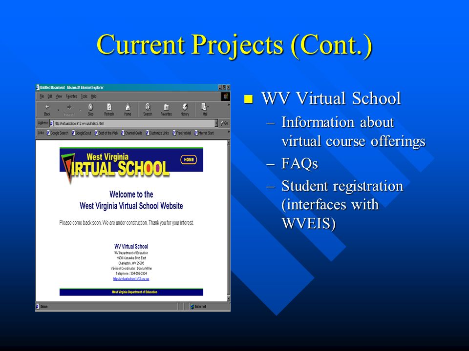 Current Projects (Cont.) WV Virtual School –Information about virtual course offerings –FAQs –Student registration (interfaces with WVEIS)