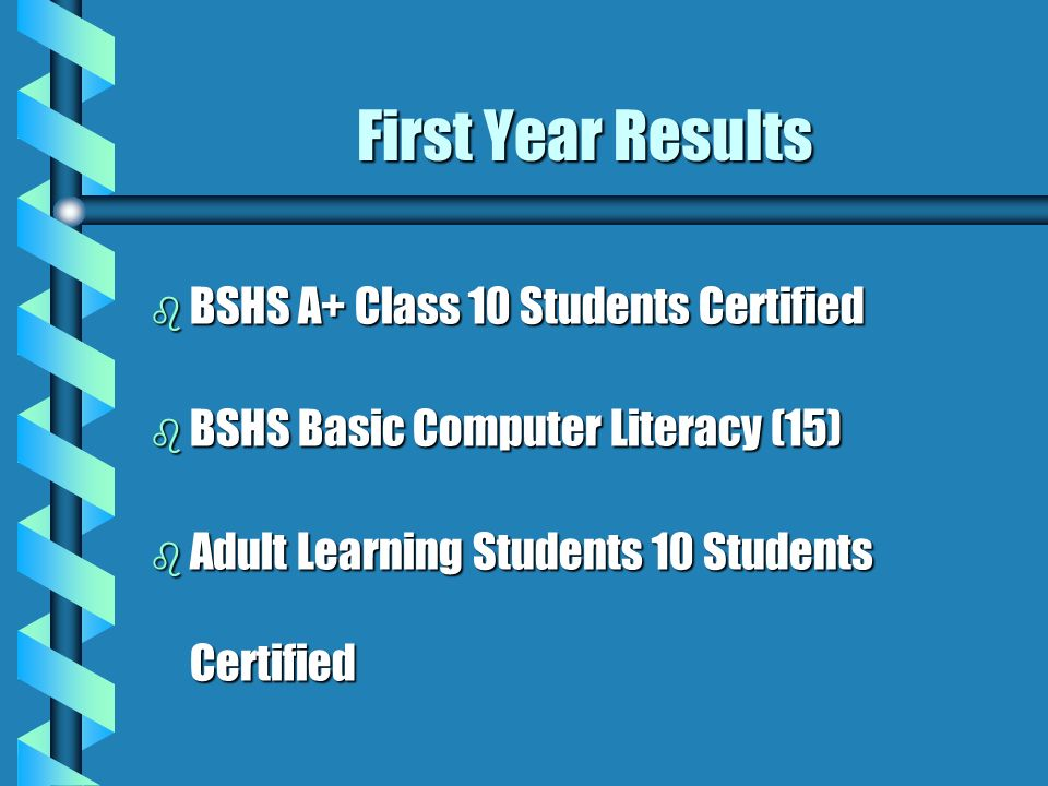 First Year Results b BSHS A+ Class 10 Students Certified b BSHS Basic Computer Literacy (15) b Adult Learning Students 10 Students Certified