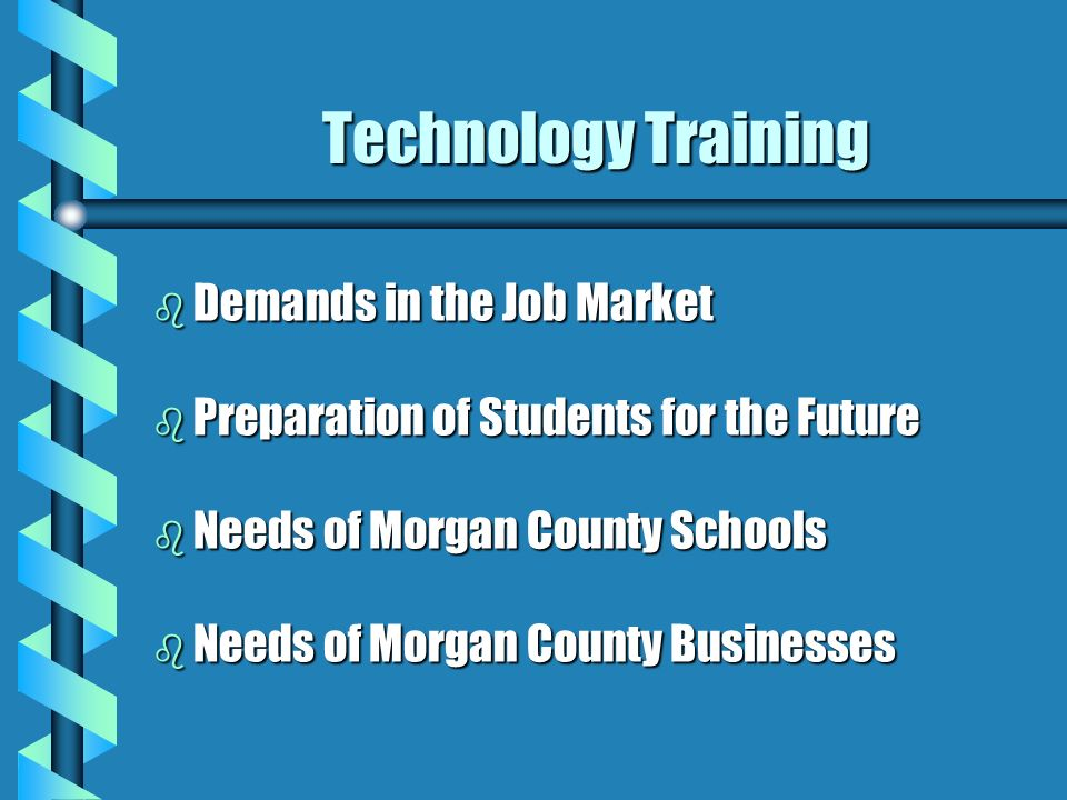 Technology Training b Demands in the Job Market b Preparation of Students for the Future b Needs of Morgan County Schools b Needs of Morgan County Businesses