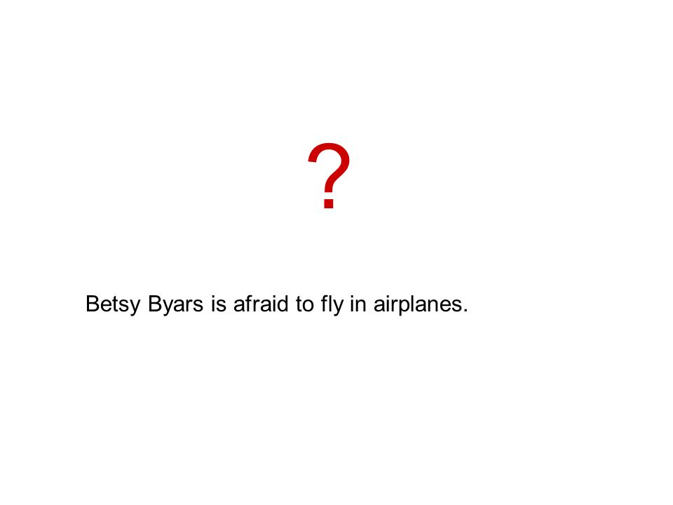 Betsy Byars is afraid to fly in airplanes.