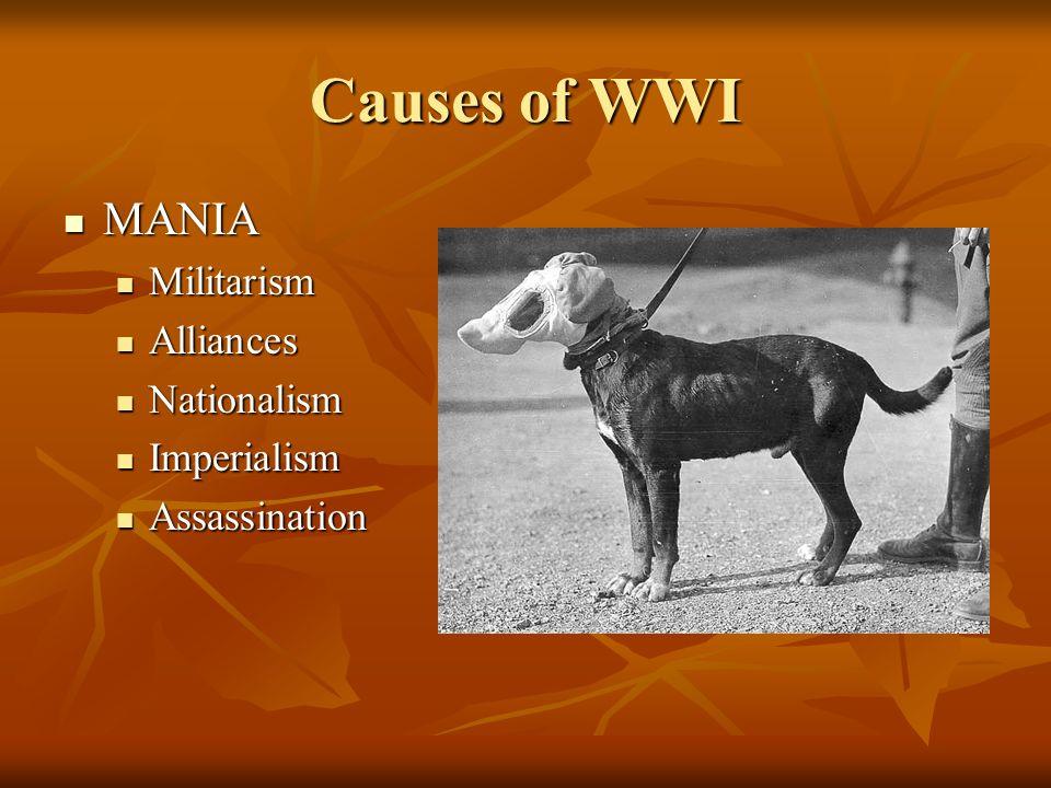 Causes of WWI MANIA MANIA Militarism Militarism Alliances Alliances Nationalism Nationalism Imperialism Imperialism Assassination Assassination