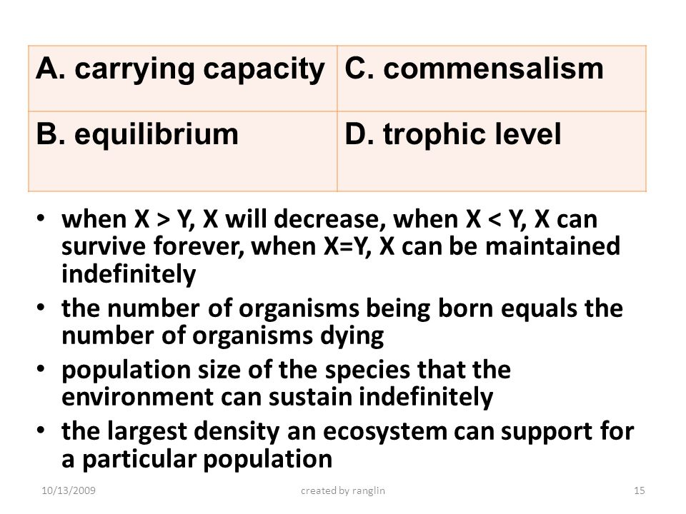 when X > Y, X will decrease, when X < Y, X can survive forever, when X=Y, X can be maintained indefinitely the number of organisms being born equals t