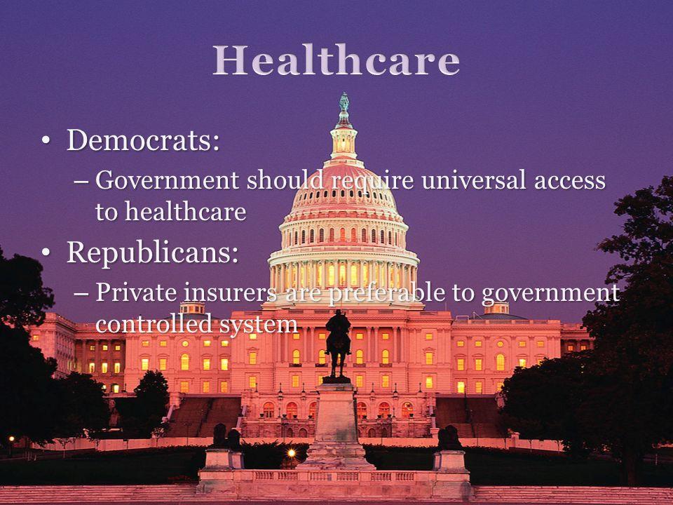 Democrats: Democrats: – Government should require universal access to healthcare Republicans: Republicans: – Private insurers are preferable to govern