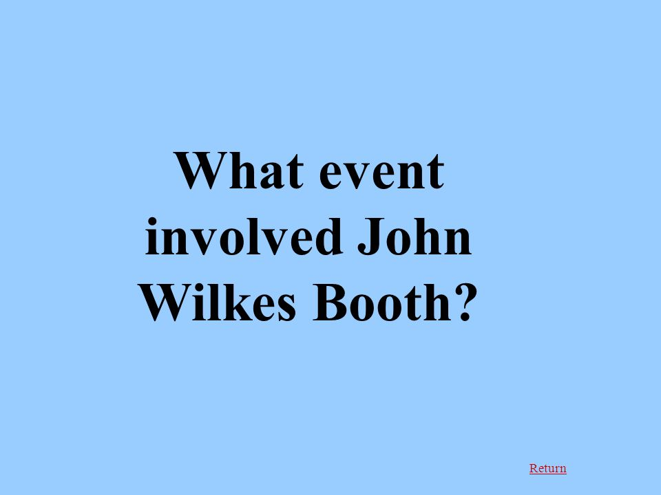 Return What event involved John Wilkes Booth
