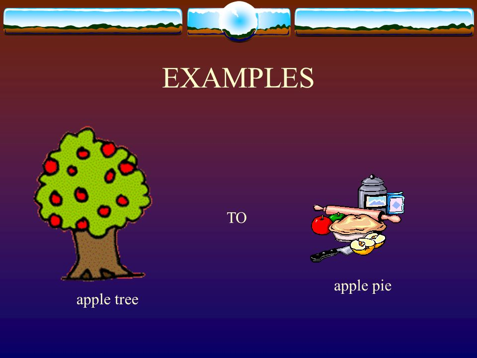 EXAMPLES apple tree apple pie TO