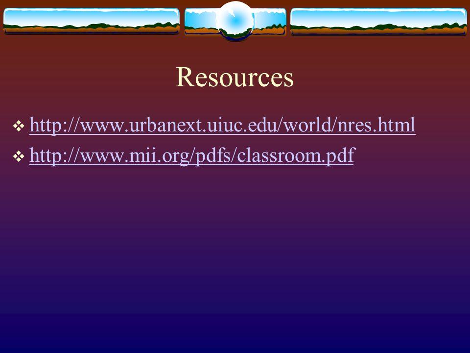 Resources http://www.urbanext.uiuc.edu/world/nres.html http://www.mii.org/pdfs/classroom.pdf