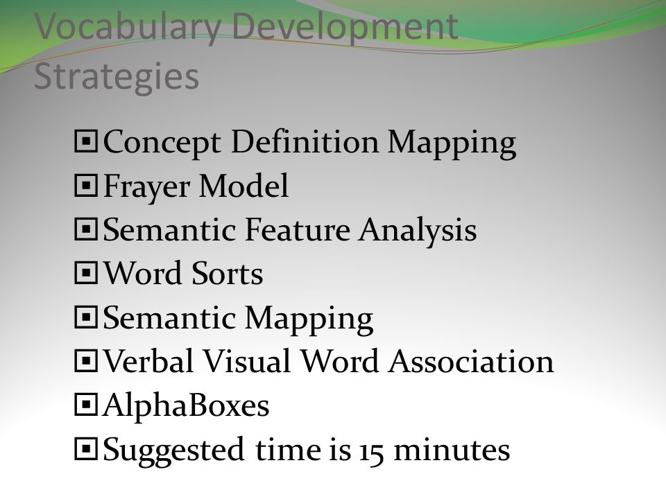 Vocabulary Development Strategies Concept Definition Mapping Frayer Model Semantic Feature Analysis Word Sorts Semantic Mapping Verbal Visual Word Association AlphaBoxes Suggested time is 15 minutes