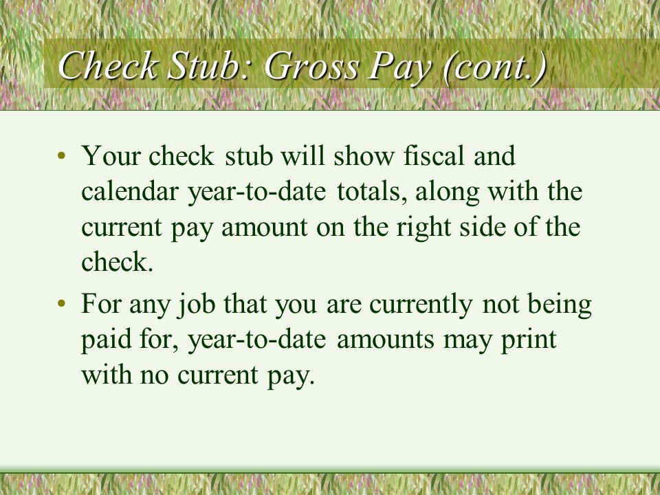 Check Stub: Gross Pay (cont.) Your check stub will show fiscal and calendar year-to-date totals, along with the current pay amount on the right side of the check.