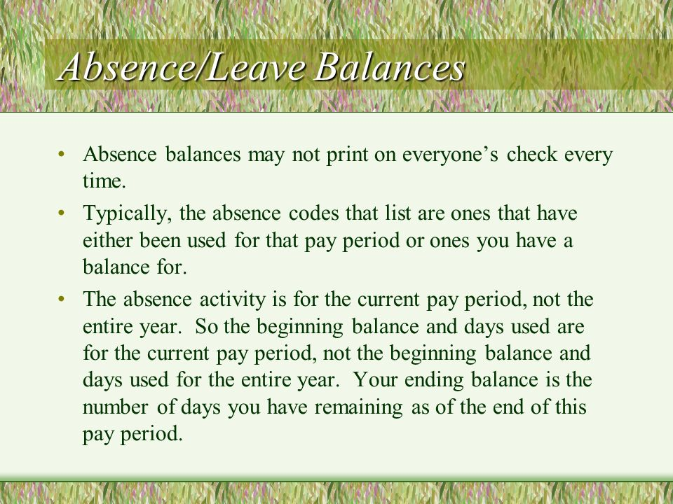 Absence/Leave Balances Absence balances may not print on everyones check every time.