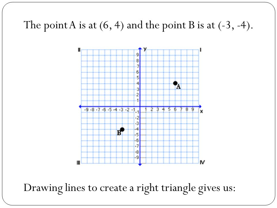 The point A is at (6, 4) and the point B is at (-3, -4). Drawing lines to create a right triangle gives us: