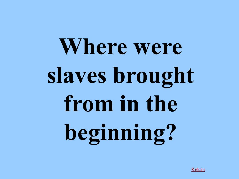Return Where were slaves brought from in the beginning