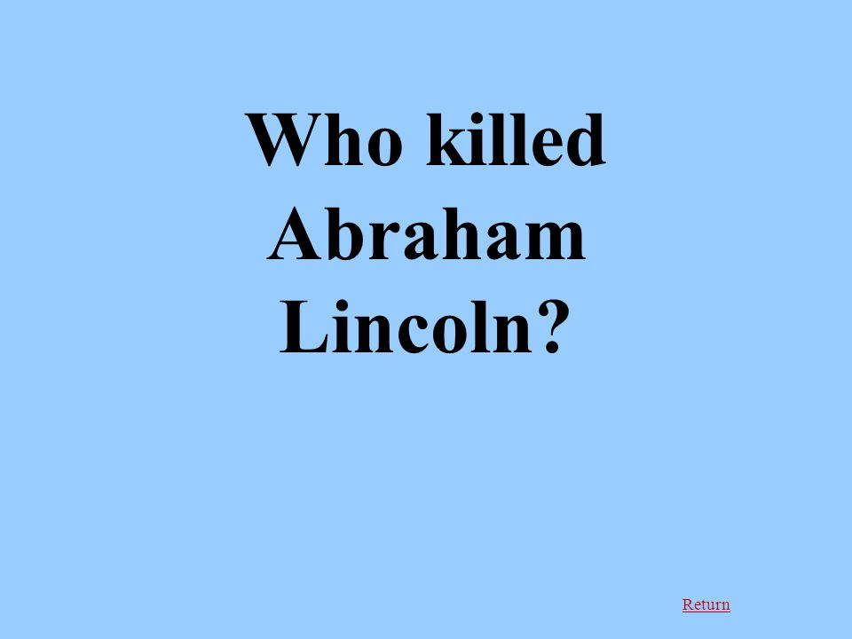 Return Who killed Abraham Lincoln
