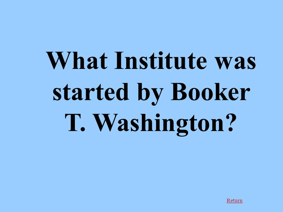 Return What Institute was started by Booker T. Washington