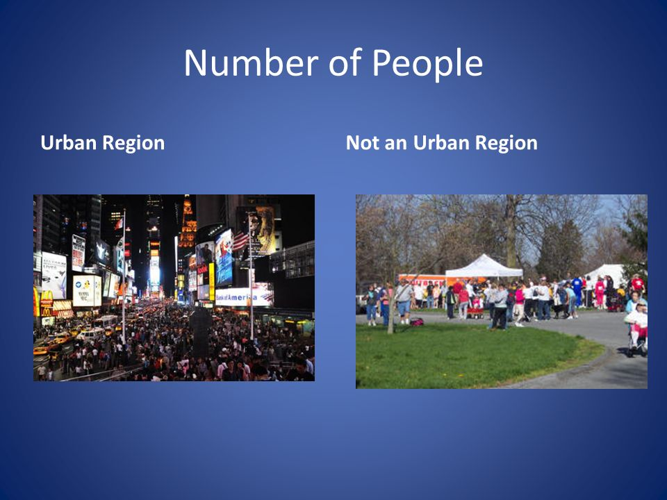 Number of People Urban RegionNot an Urban Region