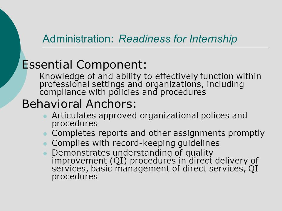 Administration: Readiness for Internship Essential Component: Knowledge of and ability to effectively function within professional settings and organizations, including compliance with policies and procedures Behavioral Anchors: Articulates approved organizational polices and procedures Completes reports and other assignments promptly Complies with record-keeping guidelines Demonstrates understanding of quality improvement (QI) procedures in direct delivery of services, basic management of direct services, QI procedures