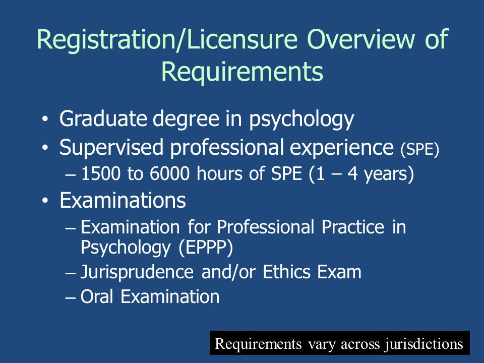 Registration/Licensure Overview of Requirements Graduate degree in psychology Supervised professional experience (SPE) – 1500 to 6000 hours of SPE (1
