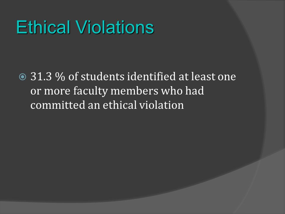 Ethical Violations 31.3 % of students identified at least one or more faculty members who had committed an ethical violation