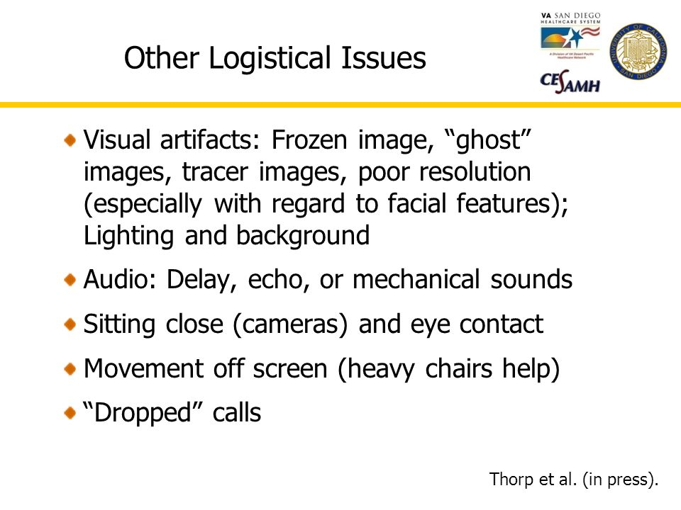 Other Logistical Issues Visual artifacts: Frozen image, ghost images, tracer images, poor resolution (especially with regard to facial features); Lighting and background Audio: Delay, echo, or mechanical sounds Sitting close (cameras) and eye contact Movement off screen (heavy chairs help) Dropped calls Thorp et al.