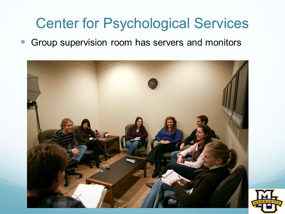 Center for Psychological Services Group supervision room has servers and monitors