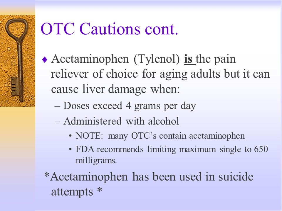 OTC Cautions cont. Acetaminophen (Tylenol) is the pain reliever of choice for aging adults but it can cause liver damage when: –Doses exceed 4 grams p