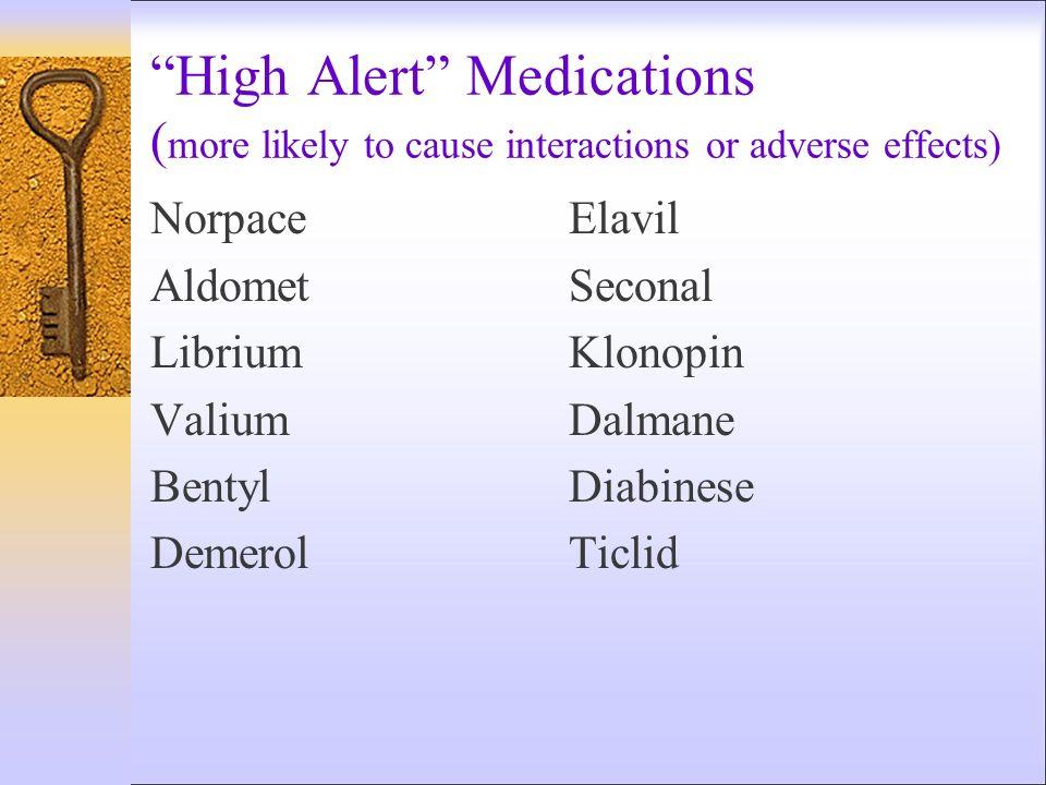 High Alert Medications ( more likely to cause interactions or adverse effects) NorpaceElavil AldometSeconal LibriumKlonopin ValiumDalmane BentylDiabin