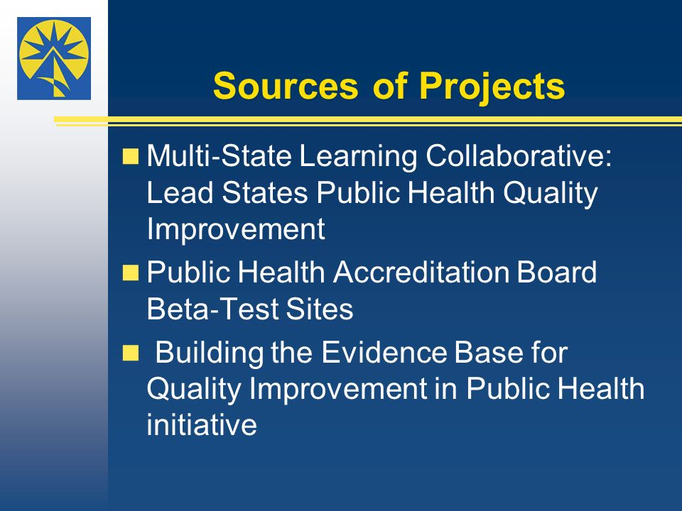 Sources of Projects Multi State Learning Collaborative: Lead States Public Health Quality Improvement Public Health Accreditation Board Beta Test Site
